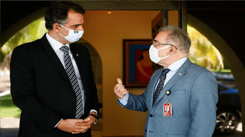 Rodrigo Pacheco recebe Marcelo Queiroga e defende ampliação da testagem