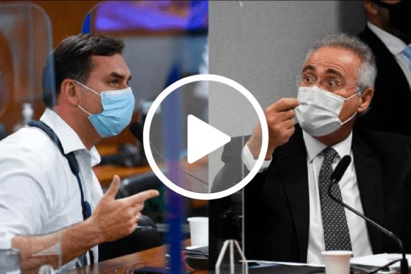 Após abandonar sessão, Flávio Bolsonaro pede destituição de Renan Calheiros da CPI