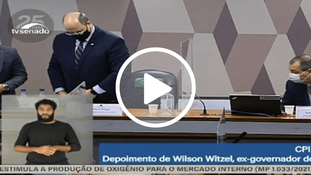 Após ser questionado sobre compra superfaturada de respiradores, Witzel usa HC concedido pelo STF e encerra depoimento à CPI