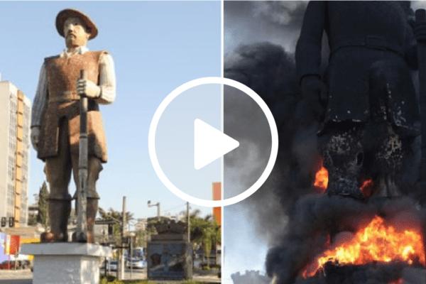 Militantes de esquerda incendeiam estátua de Borba Gato em São Paulo